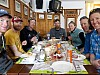 Joe Pasteris, Chris Barchet, Martin Volken, Puck Wheaton, Julia Richman, Mike Hattrup, and Lulu Gephart enjoying one last delicious Italian lunch at the Rifugio Forni to end a spectacular week of touring.